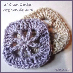 """3"""" Open Center Afghan Square by Rhelena of CrochetN'Crafts"""