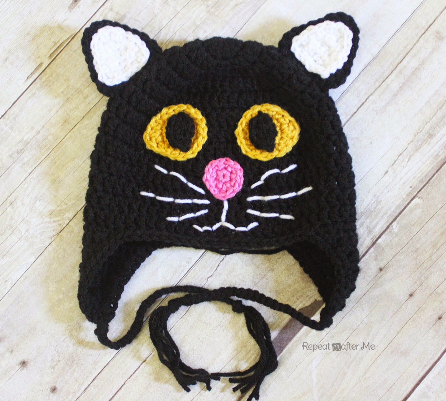 Newborn Crochet Cat Hat Pattern : Crochet Black Cat Hat by Repeat Crafter Me - Crochet ...
