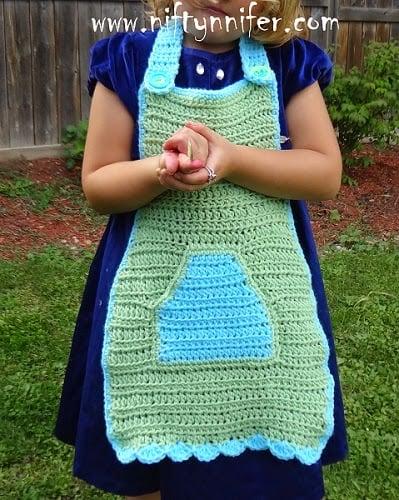 'Nanny's Little Helper' Children's Apron by Jennifer Gregory of Niftynnifer's Crochet & Crafts
