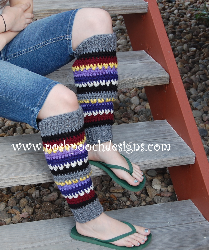 Yarn Stash Busting Leg Warmers by Sara Sach of Posh Pooch Designs