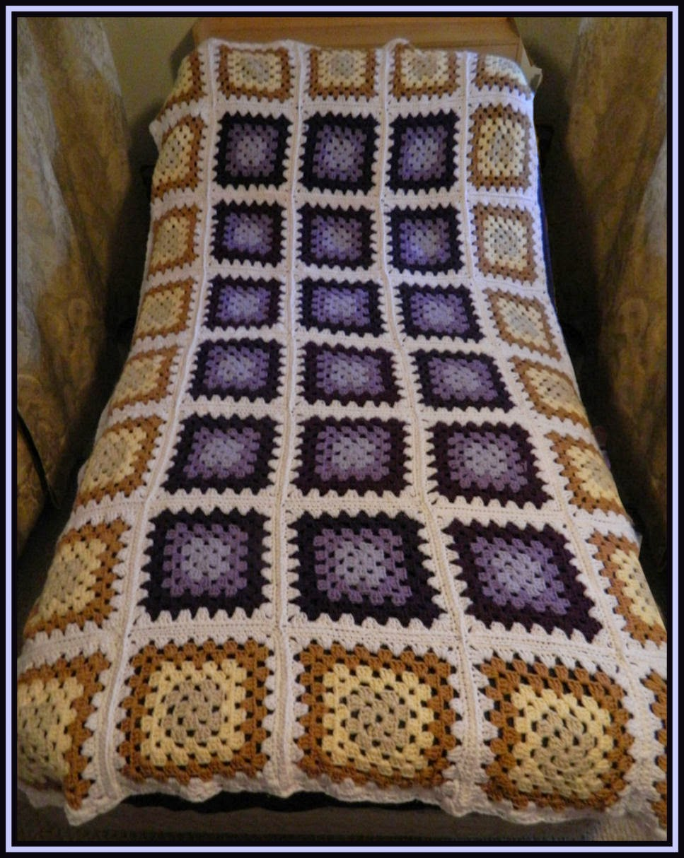 Golden Lavender Granny Square Blanket - Twin Size by Heather's Crochet Blog