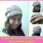 "Crochet ""Bright Like a Neon Button"" Beanie Hat ~ Maz Kwok's Designs"
