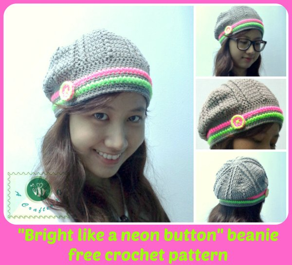 "Crochet ""Bright Like a Neon Button"" Beanie Hat by Maz Kwok's Designs"