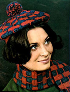 Crochet Beret and Scarf Pattern #2161 by Free Vintage Crochet