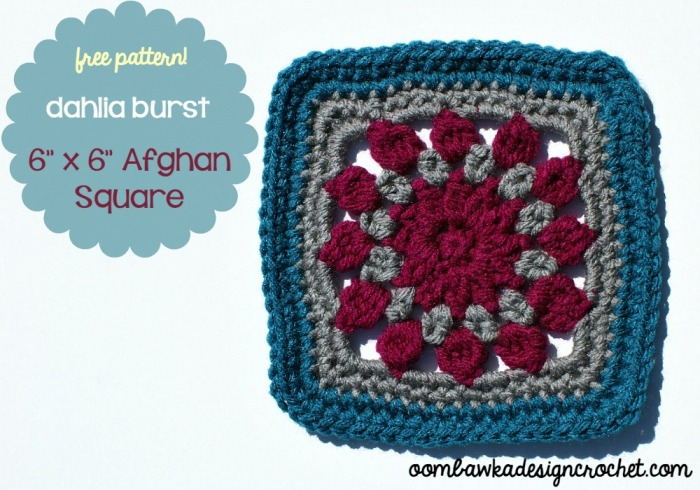 Dahlia Burst Afghan Square by Oombawka Design