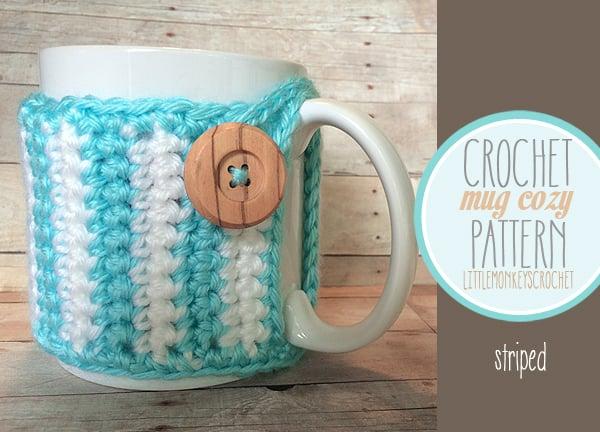 Striped Mug Cozy by Rebecca Langford of Little Monkeys Crochet