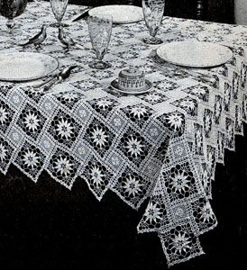 New Angles Tablecloth by Free Vintage Crochet - Crochet ...