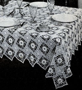 New Angles Tablecloth by Free Vintage Crochet