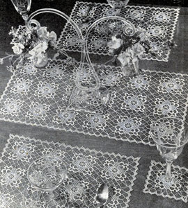 Filmy Charm Table Doily Set by Free Vintage Crochet