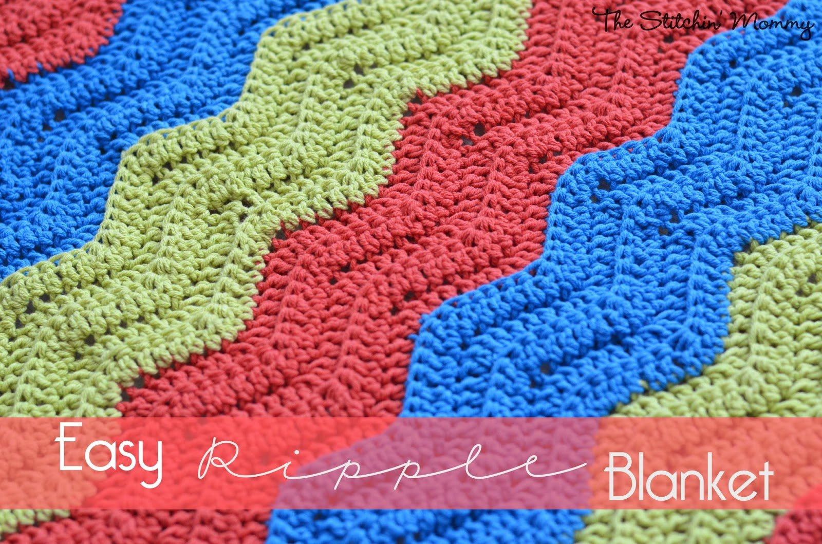 Easy Crochet Ripple Blanket by The Stitchin' Mommy