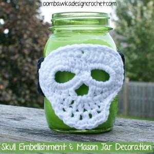 Halloween Skull and Mason Jar Halloween Decoration by Oombawka Design