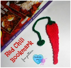 Red Chili Bookmark by Erangi Udeshika of Crochet For You