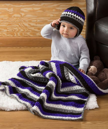Baby Dude Blanket & Hat by Salena Baca for Red Heart