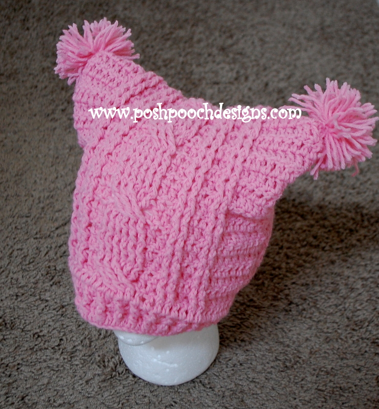 Cable Stitch Square Hat With Pom poms by Sara Sach of Posh Pooch Designs