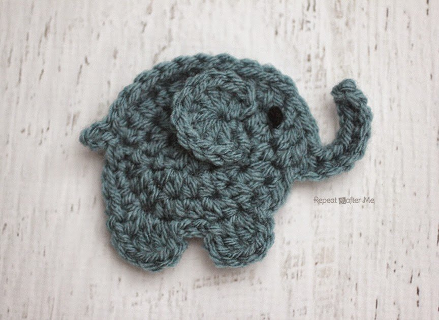 Free Crochet Patterns Elephant : Crochet Elephant Applique ~ FREE Crochet Pattern