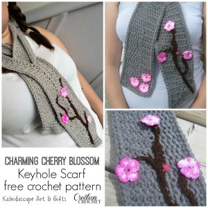 Charming Cherry Blossom Keyhole Scarf by Kaleidoscope Art & Gifts for Cre8tion Crochet