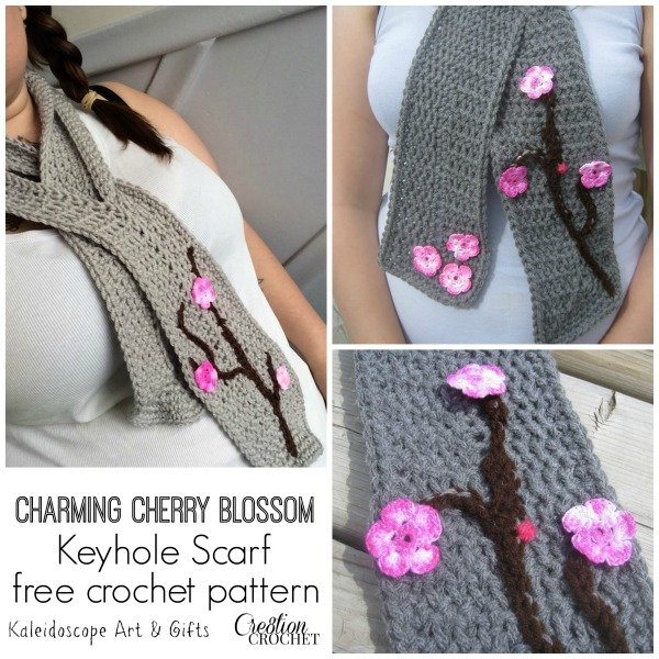 83409db10410f8 Charming Cherry Blossom Keyhole Scarf by Kaleidoscope Art   Gifts for  Cre8tion Crochet
