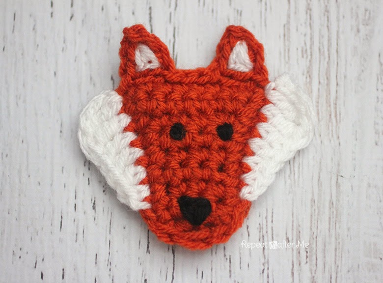 F is for Fox: Crochet Fox Applique by Repeat Crafter Me