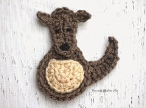 K is for Kangaroo: Crochet Kangaroo Applique by Repeat Crafter Me