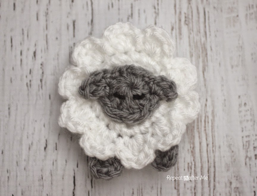 L is for Lamb: Crochet Lamb Applique by Repeat Crafter Me