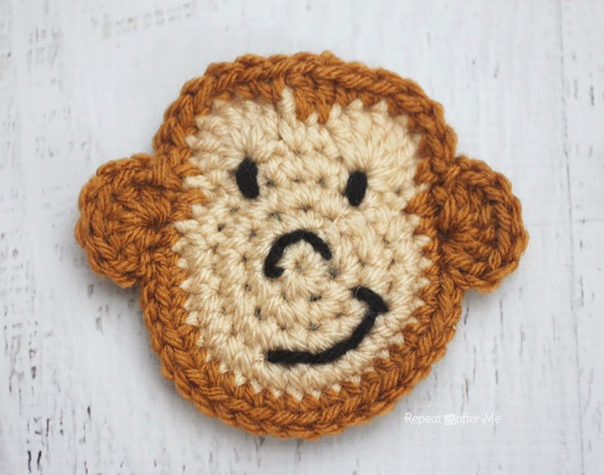 M is for Monkey: Crochet Monkey Applique by Repeat Crafter Me