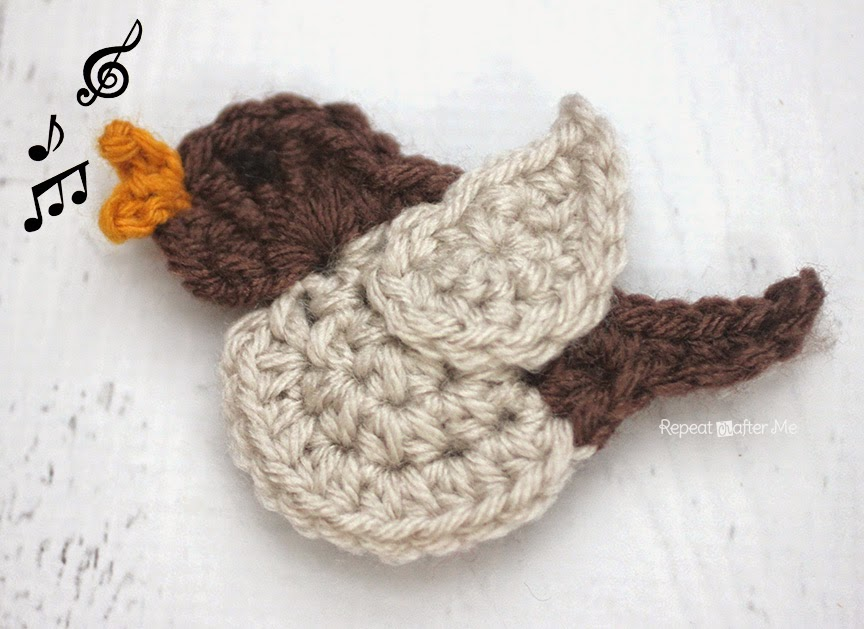 N is for Nightingale: Crochet Nightingale Bird Applique by Repeat Crafter Me