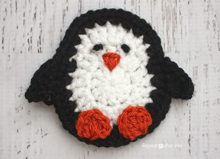 P is for Penguin: Crochet Penguin Applique by Repeat Crafter Me