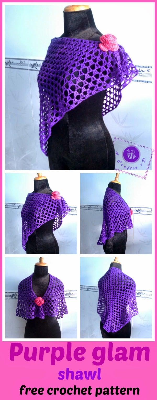 """Purple Glam"" Shawl by Maz Kwok's Designs"