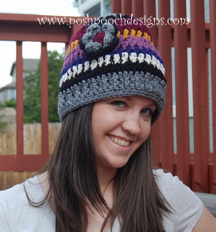 Yarn Stash Busting Beanie - Striped Beanie Hat by Sara Sach of Posh Pooch Designs