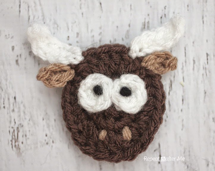 Y is for Yak: Crochet Yak Applique by Repeat Crafter Me
