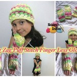 Zig Zag Puff Stitch Finger less Gloves ~ Meladora's Creations