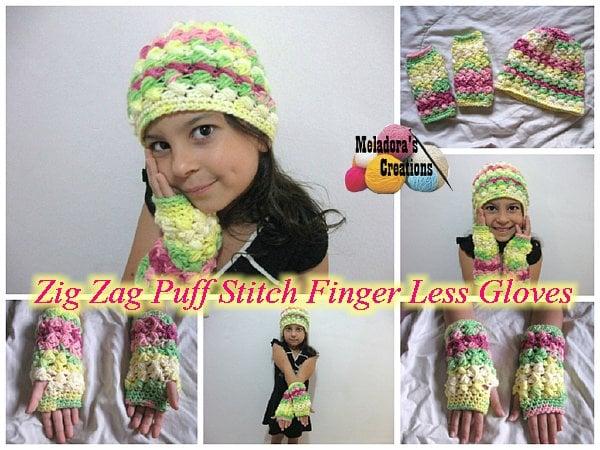 Zig Zag Puff Stitch Finger less Gloves by Meladora's Creations