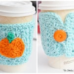 Crochet Star Stitch Pumpkin Coffee Cozy ~ The Stitchin' Mommy