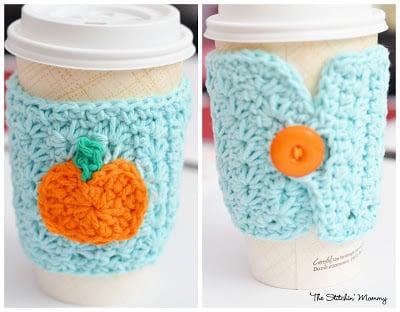 Crochet Star Stitch Pumpkin Coffee Cozy ~ The Stitchin' Mommy