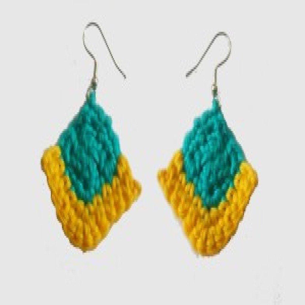 Free Crochet Patterns For Earrings : Corner Square Earrings ~ FREE Crochet Pattern