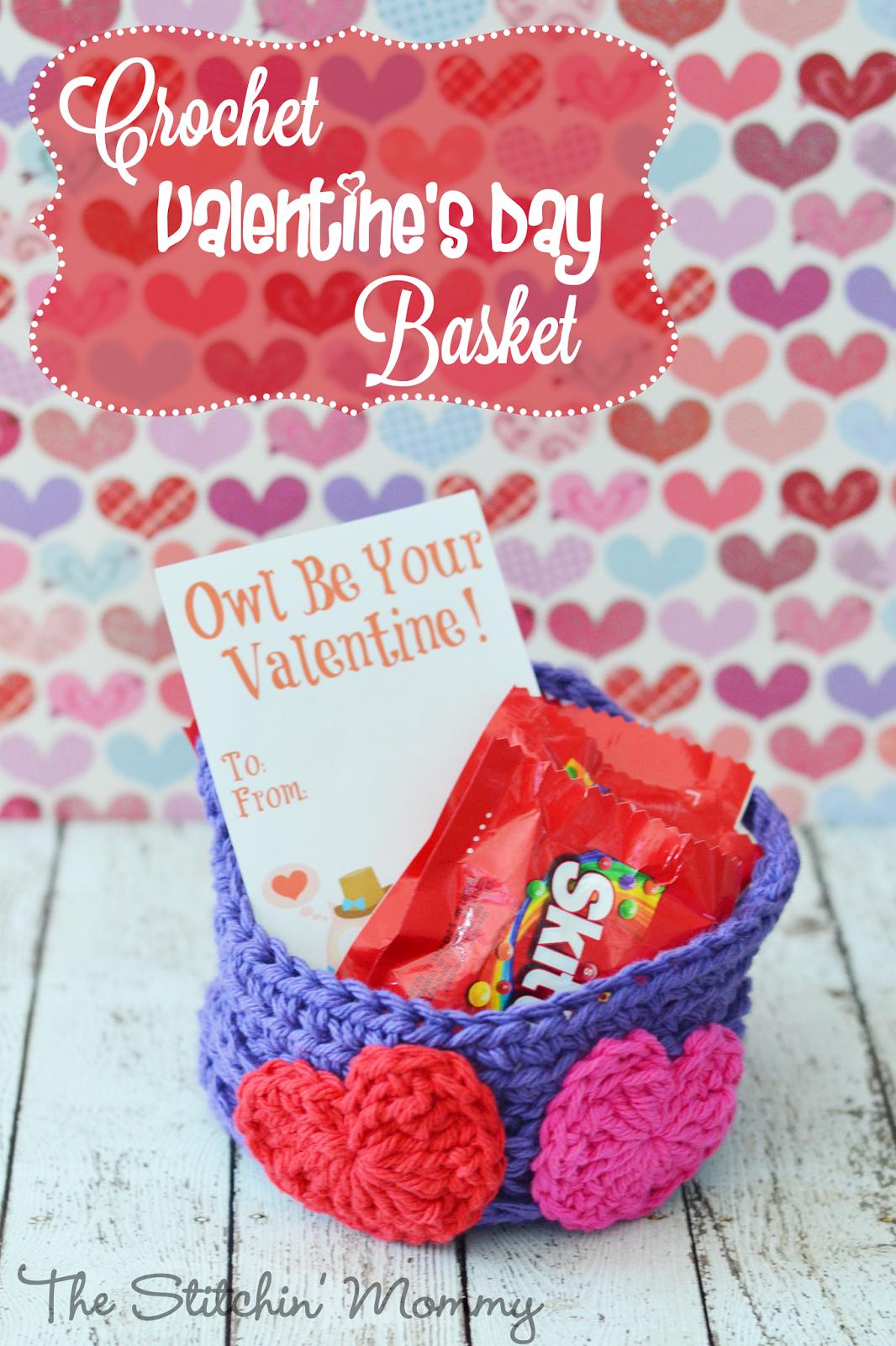 Easy Crochet Valentine's Day Basket by The Stitchin' Mommy