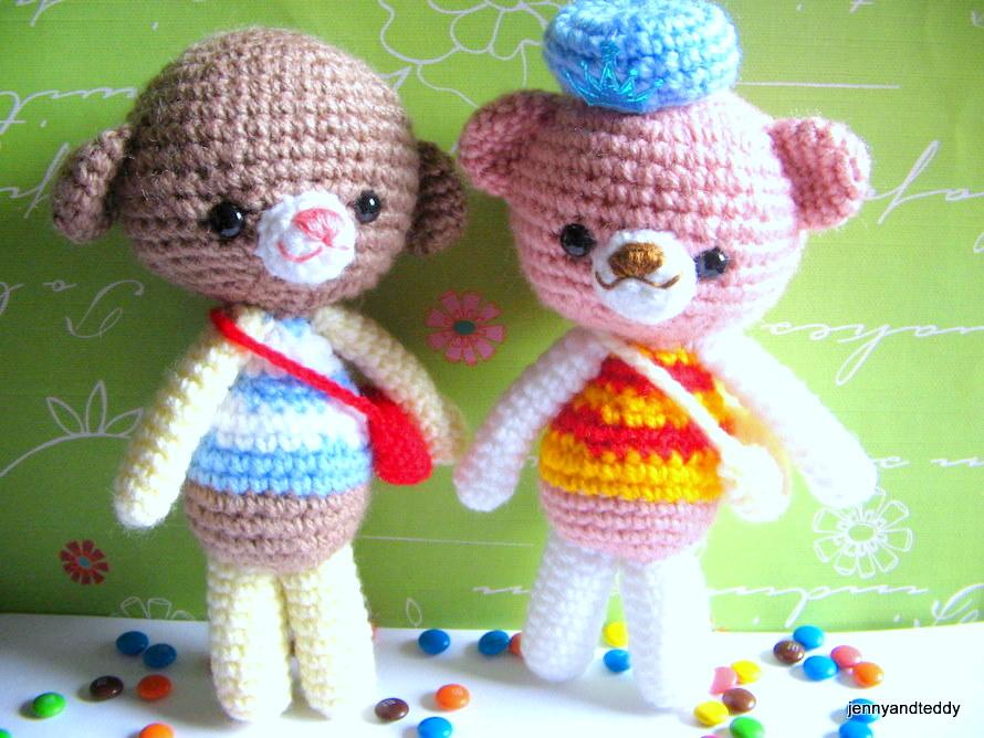 Tony Bear and Toby Dog Amigurumi by Jenny and Teddy