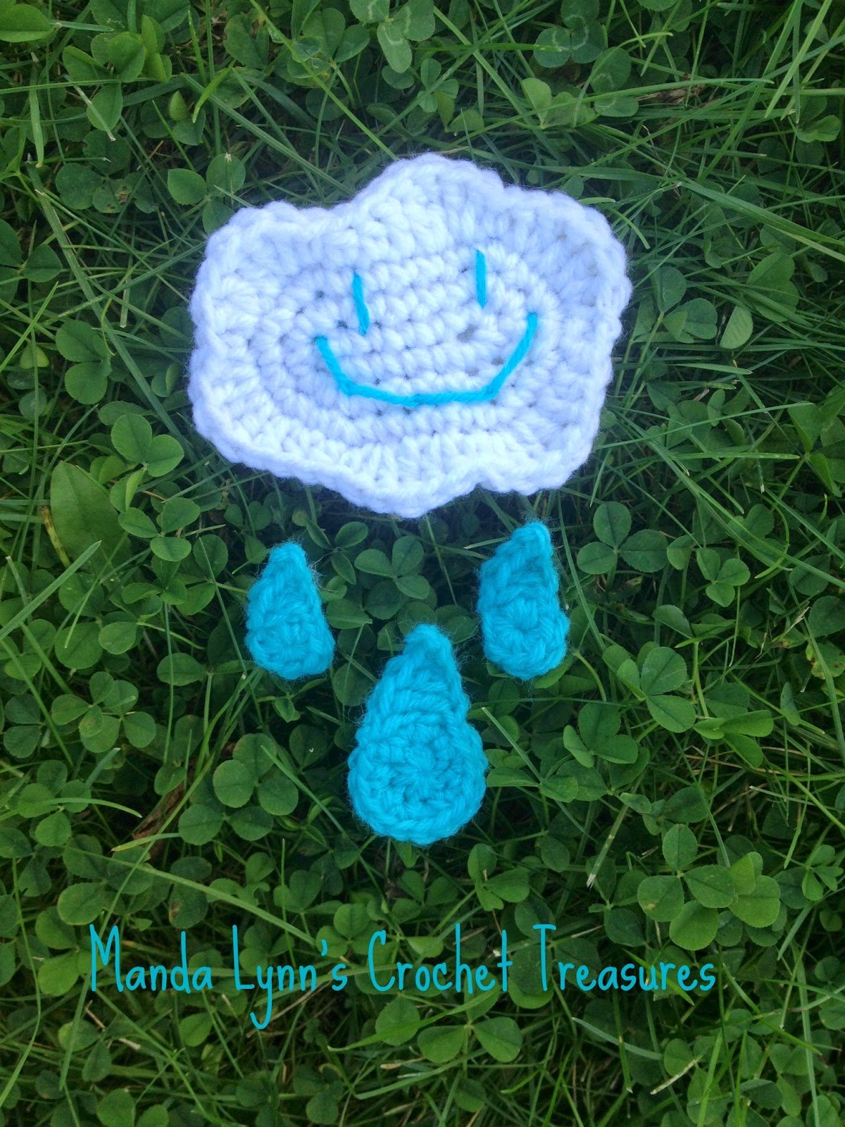 Stormy Cloud & Rain Drop Applique Set ~ Manda Proell - MandaLynn's Crochet Treasures