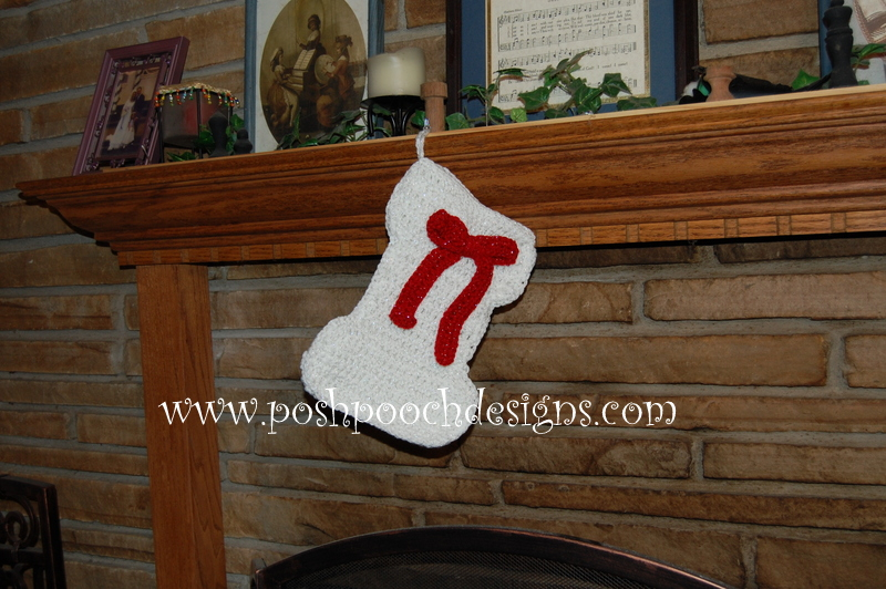 Dog Bone Shaped Christmas Stocking ~ Sara Sach - Posh Pooch Designs