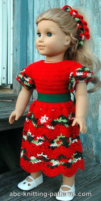 American Girl Doll Christmas Dress Free Crochet Pattern