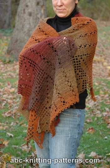 Autumn Leaves Filet Crochet Shawl ~ ABC Knitting Patterns