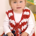 Baby Candy Stripe Vest ~ Mary Jane Protus - Red Heart