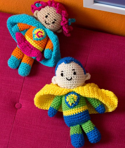Boy and Girl Super Heroes ~ Michele Wilcox - Red Heart Yarns
