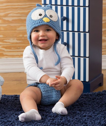 C'utie Blue Bird Hat & Diaper Cover ~ Salena Baca - Red Heart