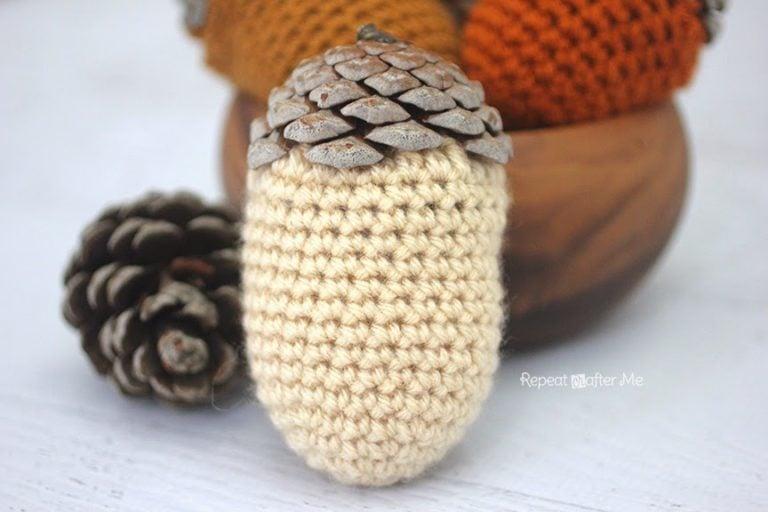 Crochet Acorn Pine Cones ~ Repeat Crafter Me