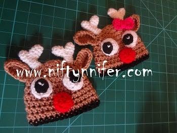 3 Months Raindeer's Beanie ~ Jennifer Gregory - Niftynnifer's Crochet & Crafts