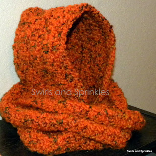 Chunky Hooded Infinity Scarf ~ Swirls and Sprinkles