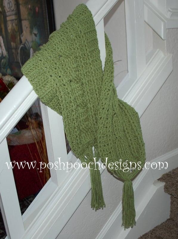 Green Meadows Cable Stitch Scarf ~ Sara Sach - Posh Pooch Designs