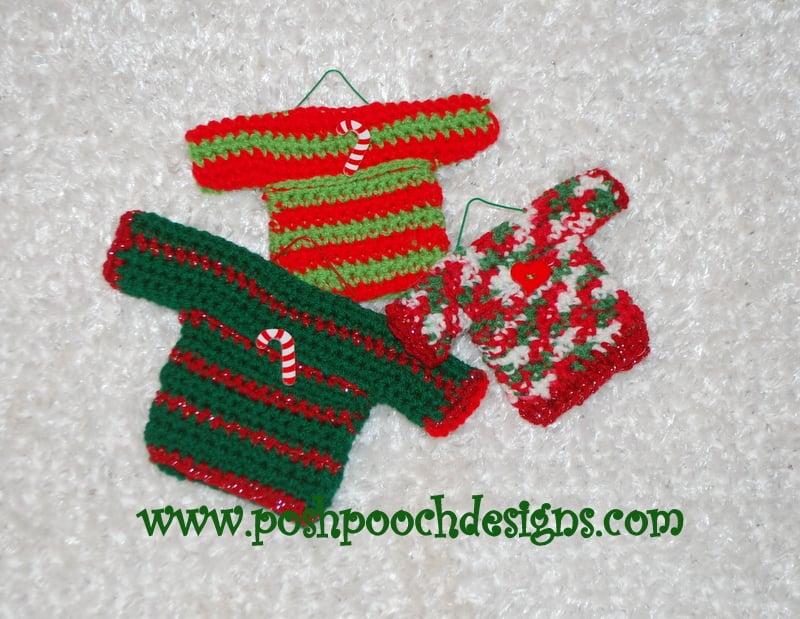 Mini Sweater Ornaments ~ Sara Sach - Posh Pooch Designs