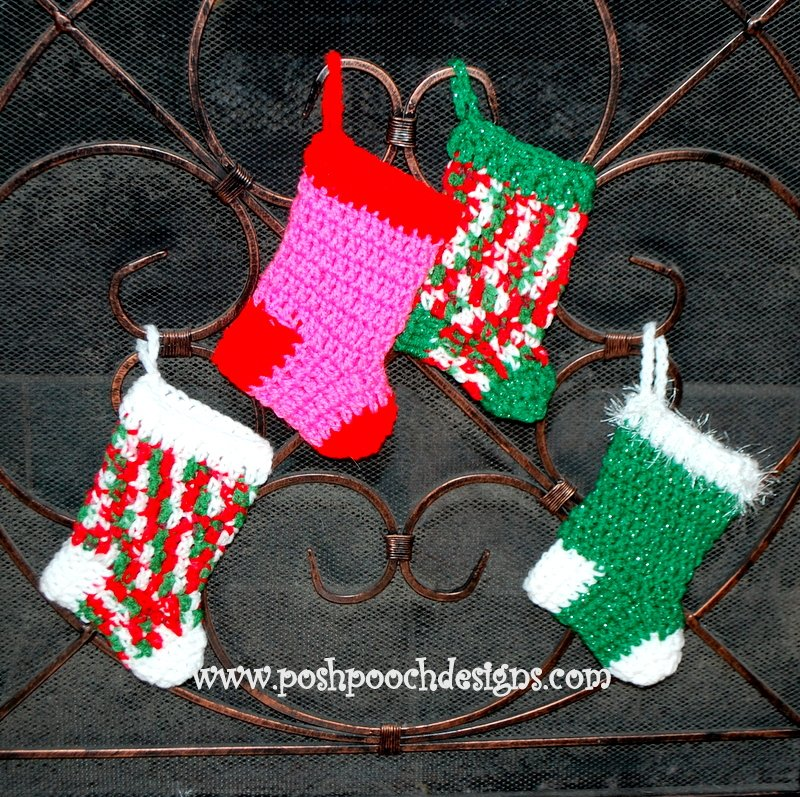 Free Crochet Patterns For Mini Christmas Stockings : Mini Christmas Stockings ~ FREE Crochet Pattern